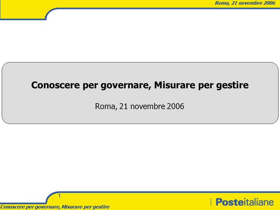 Conoscere per governare, Misurare per gestire Roma, 21 novembre 2006 1 Conoscere per governare, Misurare per gestire Roma, 21 novembre 2006