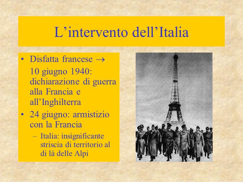 L'intervento dell'Italia Disfatta francese  10 giugno 1940: dichiarazione di guerra alla Francia e all'Inghilterra 24 giugno: armistizio con la Francia –Italia: insignificante striscia di territorio al di là delle Alpi