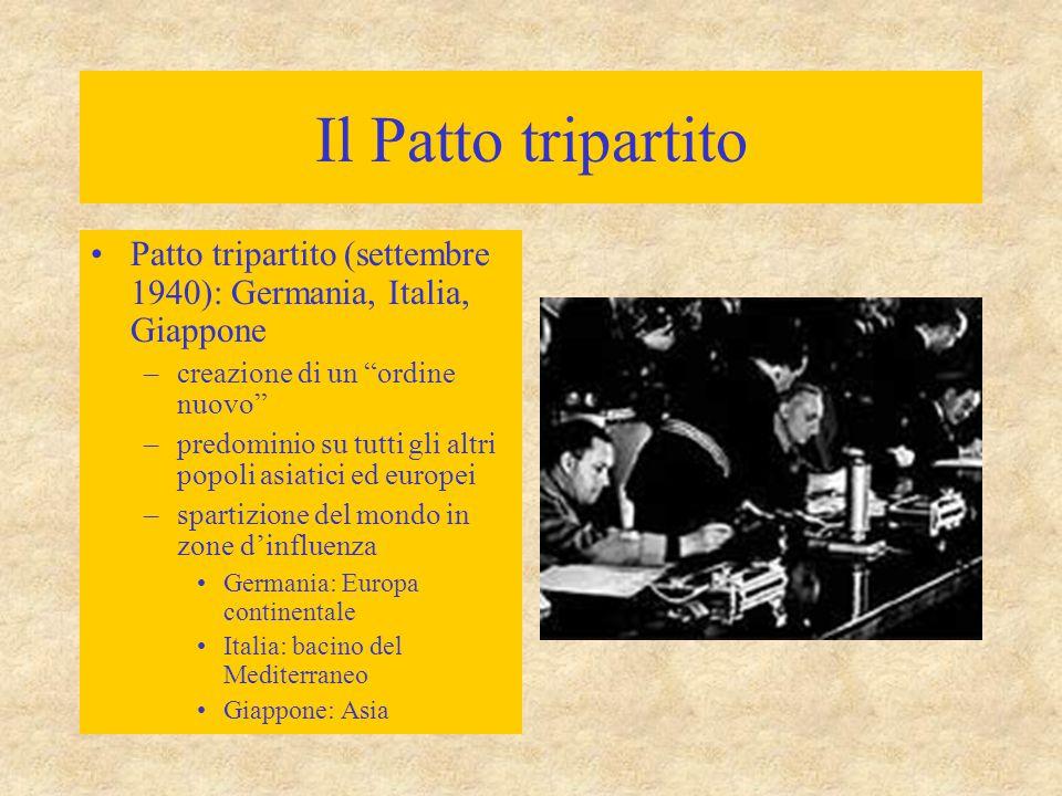 """Il Patto tripartito Patto tripartito (settembre 1940): Germania, Italia, Giappone –creazione di un """"ordine nuovo"""" –predominio su tutti gli altri popol"""