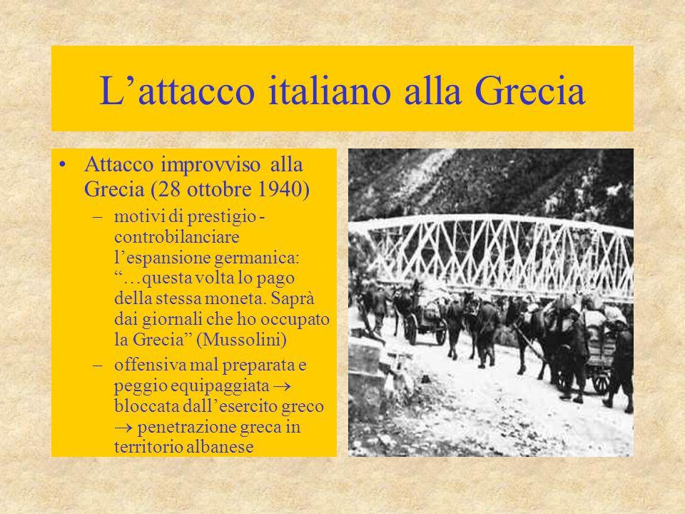L'attacco italiano alla Grecia Attacco improvviso alla Grecia (28 ottobre 1940) –motivi di prestigio - controbilanciare l'espansione germanica: …questa volta lo pago della stessa moneta.