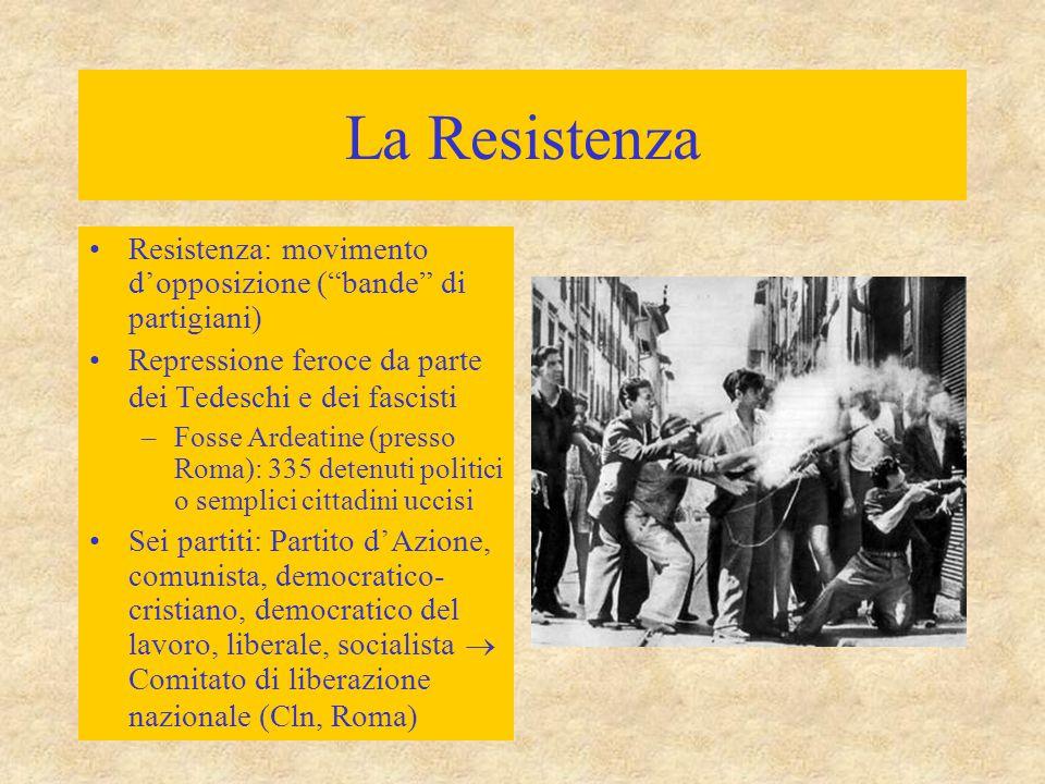 """La Resistenza Resistenza: movimento d'opposizione (""""bande"""" di partigiani) Repressione feroce da parte dei Tedeschi e dei fascisti –Fosse Ardeatine (pr"""