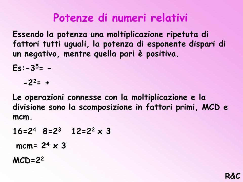 Prodotto tra numeri relativi Il prodotto di più numeri relativi è governato dalla regola dei segni: un numero pari di fattori negativi da un segno del
