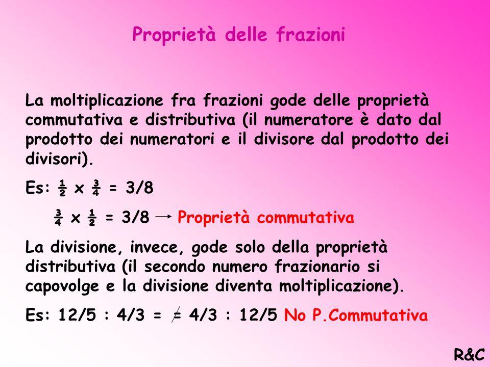 Frazioni 7/8 < 1 = Propria N/D < 1 25/4 > 1 = Impropria N/D > 1(da' resto) 3/1 = 3 > 1 = Apparente N/D > 1 (non da' resto) (€ N) R&C
