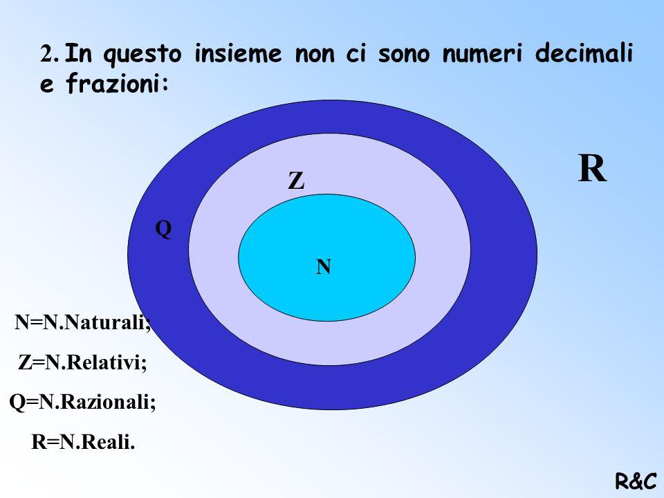 1. I numeri sono sempre separati da una unità : 0 1 2 3 4 U R&C