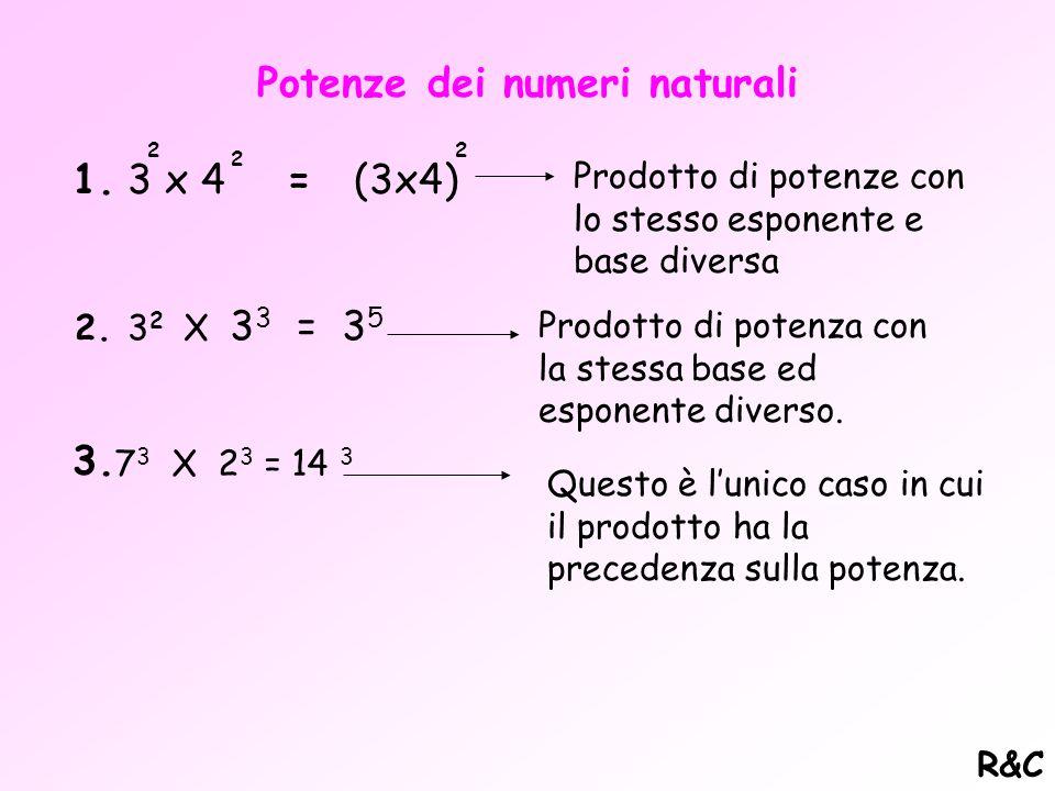 Operazioni con i numeri naturali Nell'insieme N, le operazioni che si possono fare (che danno un risultato appartenente all'insieme), sono somma e pro