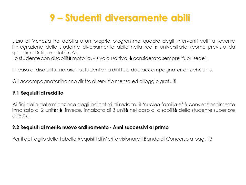 L ' Esu di Venezia ha adottato un proprio programma quadro degli interventi volti a favorire l ' integrazione dello studente diversamente abile nella realt à universitaria (come previsto da specifica Delibera del CdA).