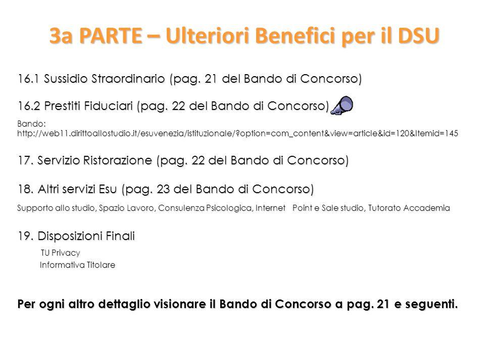 3a PARTE – Ulteriori Benefici per il DSU 16.1 Sussidio Straordinario (pag.