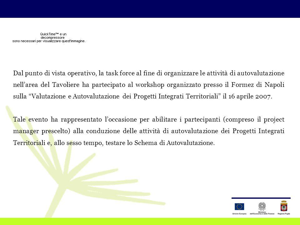 Dal punto di vista operativo, la task force al fine di organizzare le attività di autovalutazione nell'area del Tavoliere ha partecipato al workshop organizzato presso il Formez di Napoli sulla Valutazione e Autovalutazione dei Progetti Integrati Territoriali il 16 aprile 2007.
