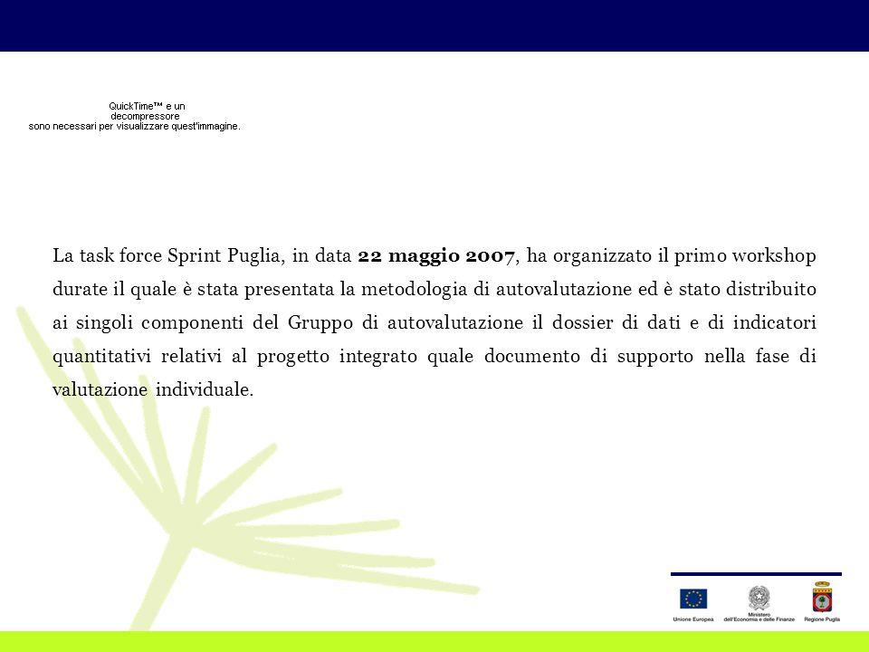 La task force Sprint Puglia, in data 22 maggio 2007, ha organizzato il primo workshop durate il quale è stata presentata la metodologia di autovalutazione ed è stato distribuito ai singoli componenti del Gruppo di autovalutazione il dossier di dati e di indicatori quantitativi relativi al progetto integrato quale documento di supporto nella fase di valutazione individuale.