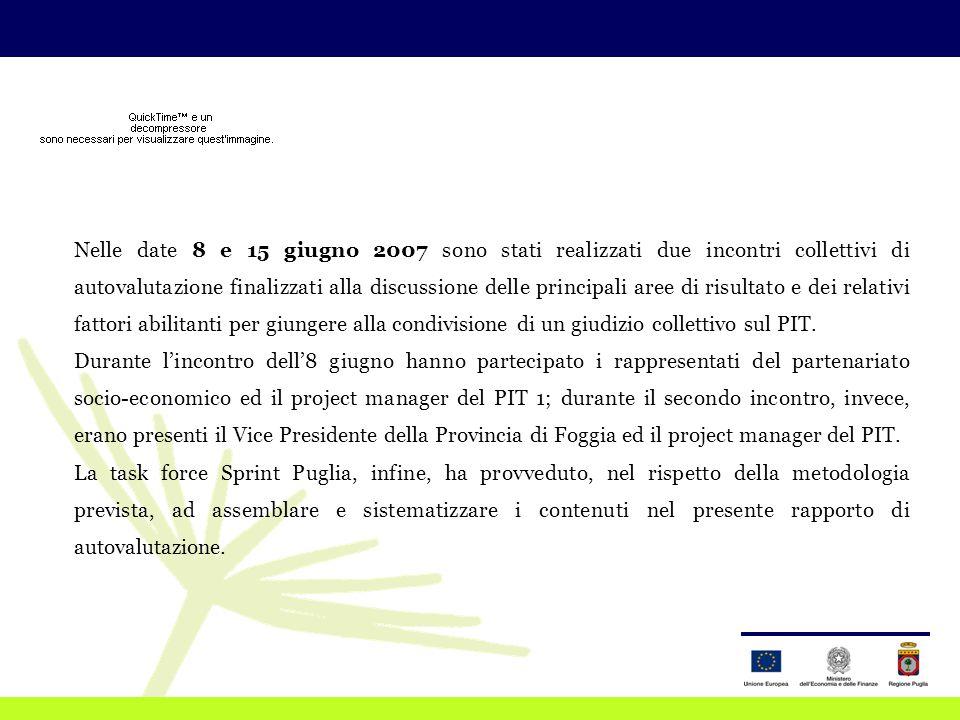 Nelle date 8 e 15 giugno 2007 sono stati realizzati due incontri collettivi di autovalutazione finalizzati alla discussione delle principali aree di risultato e dei relativi fattori abilitanti per giungere alla condivisione di un giudizio collettivo sul PIT.