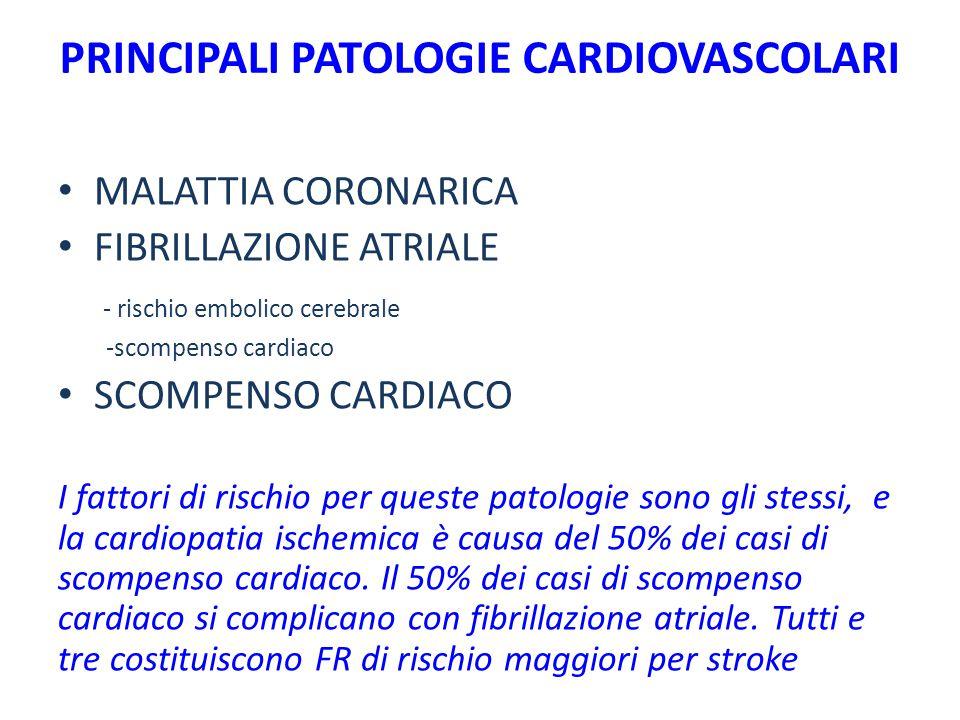 PRINCIPALI PATOLOGIE CARDIOVASCOLARI MALATTIA CORONARICA FIBRILLAZIONE ATRIALE - rischio embolico cerebrale -scompenso cardiaco SCOMPENSO CARDIACO I f