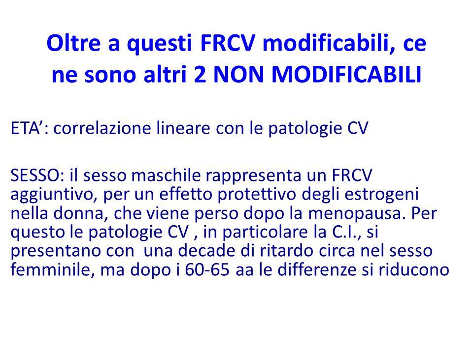 Oltre a questi FRCV modificabili, ce ne sono altri 2 NON MODIFICABILI ETA': correlazione lineare con le patologie CV SESSO: il sesso maschile rapprese