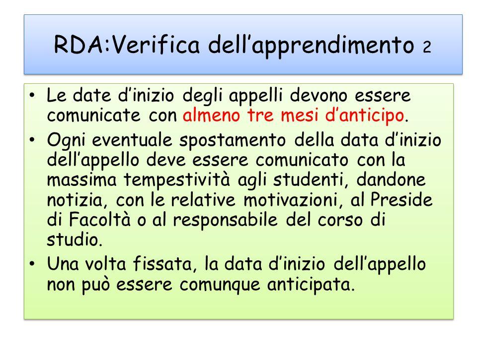 RDA:Verifica dell'apprendimento 2 Le date d'inizio degli appelli devono essere comunicate con almeno tre mesi d'anticipo.