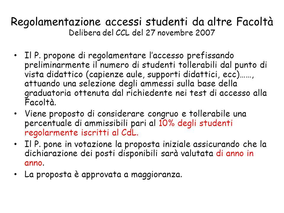 Regolamentazione accessi studenti da altre Facoltà Delibera del CCL del 27 novembre 2007 Il P.