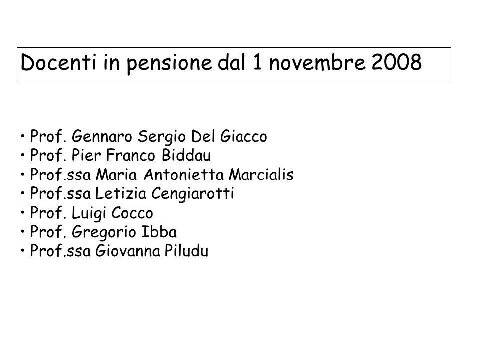 Docenti in pensione dal 1 novembre 2008 Prof. Gennaro Sergio Del Giacco Prof.