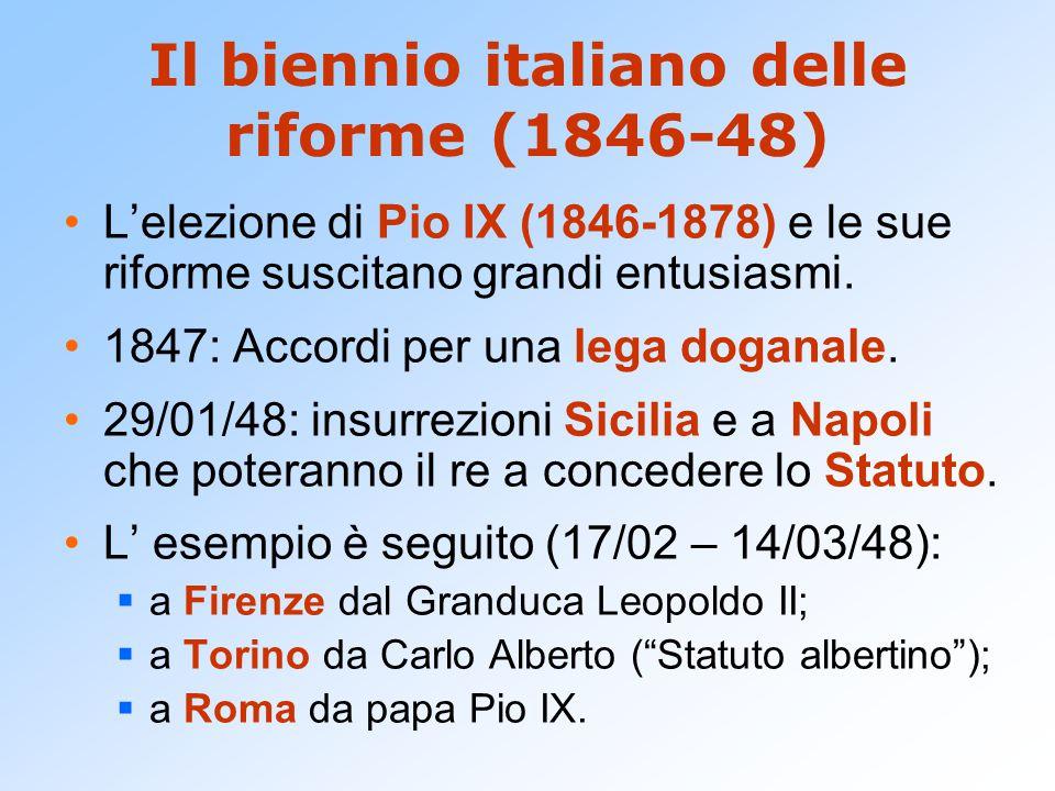 Il biennio italiano delle riforme (1846-48) L'elezione di Pio IX (1846-1878) e le sue riforme suscitano grandi entusiasmi. 1847: Accordi per una lega