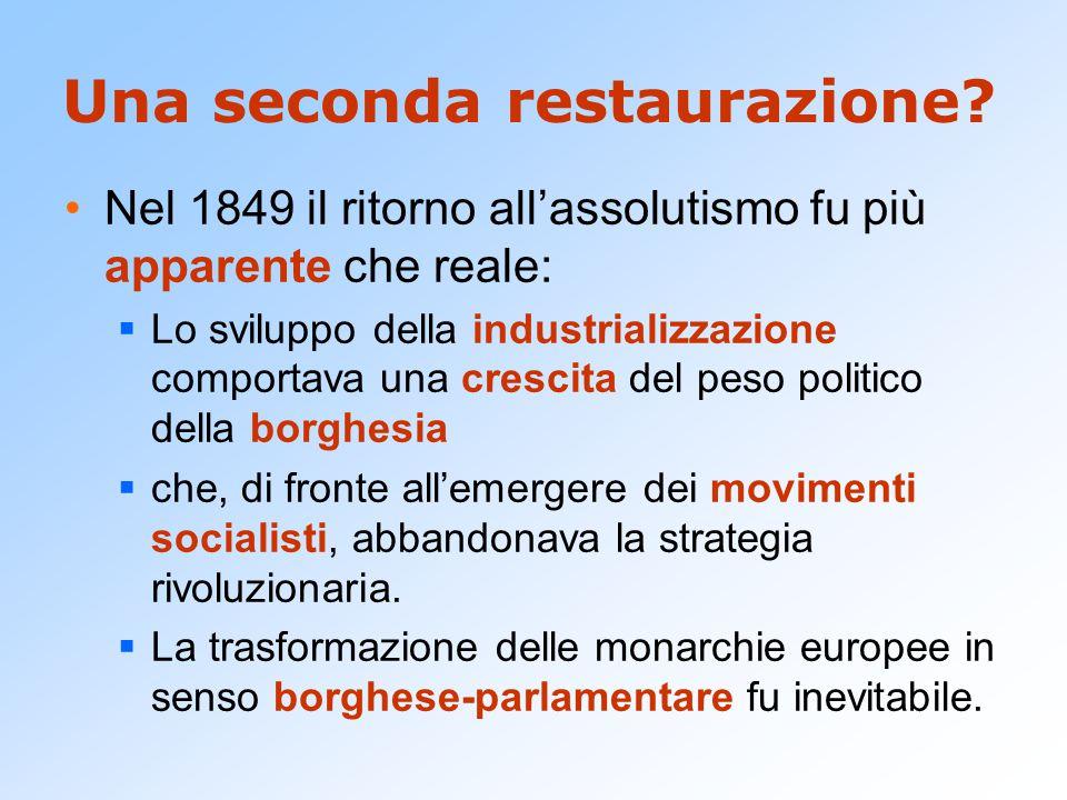 Una seconda restaurazione? Nel 1849 il ritorno all'assolutismo fu più apparente che reale:  Lo sviluppo della industrializzazione comportava una cres