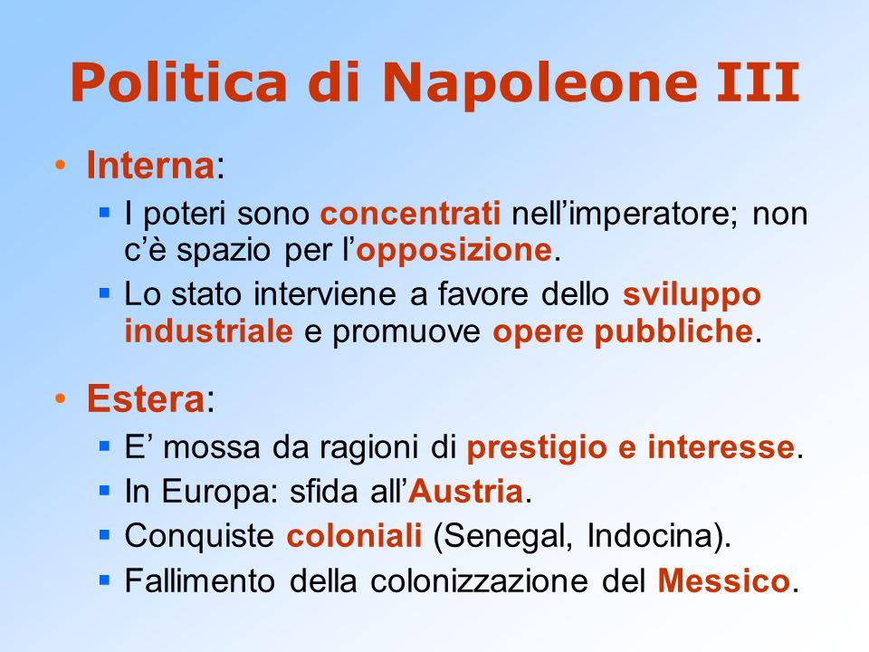 Politica di Napoleone III Interna:  I poteri sono concentrati nell'imperatore; non c'è spazio per l'opposizione.  Lo stato interviene a favore dello