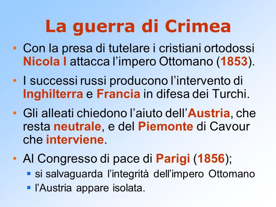 La guerra di Crimea Con la presa di tutelare i cristiani ortodossi Nicola I attacca l'impero Ottomano (1853). I successi russi producono l'intervento