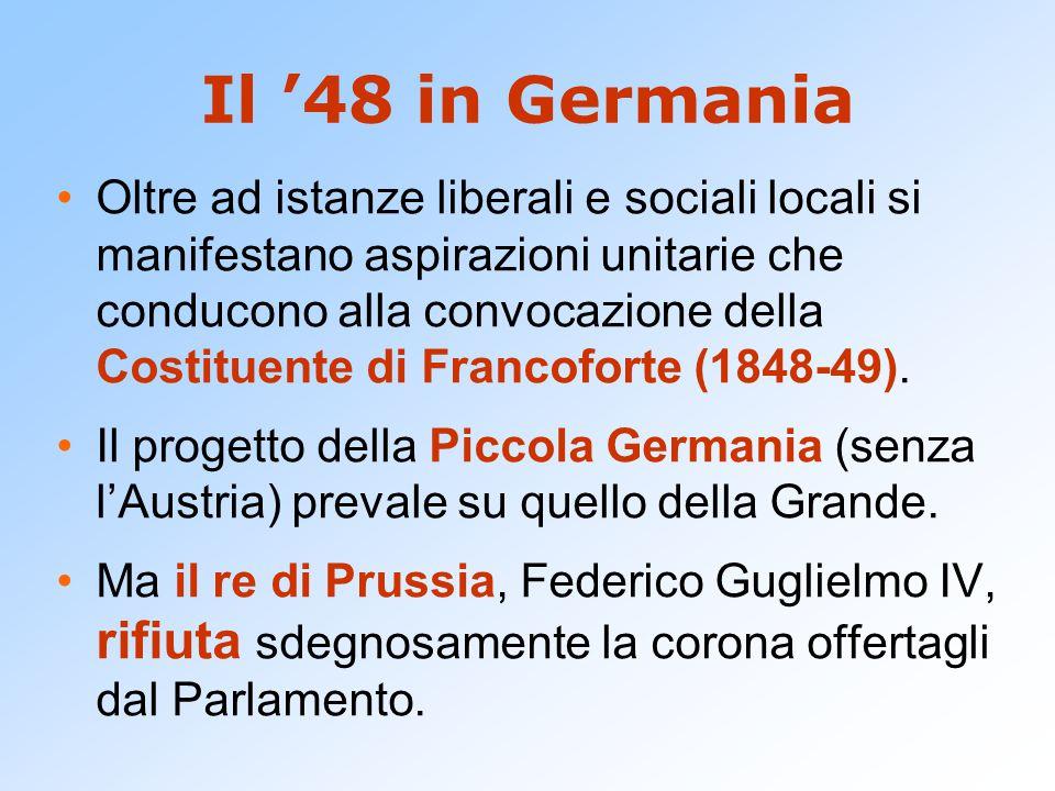 Il '48 in Germania Oltre ad istanze liberali e sociali locali si manifestano aspirazioni unitarie che conducono alla convocazione della Costituente di