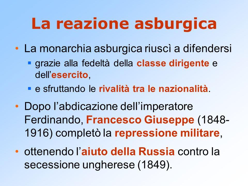 La reazione asburgica La monarchia asburgica riuscì a difendersi  grazie alla fedeltà della classe dirigente e dell'esercito,  e sfruttando le rival