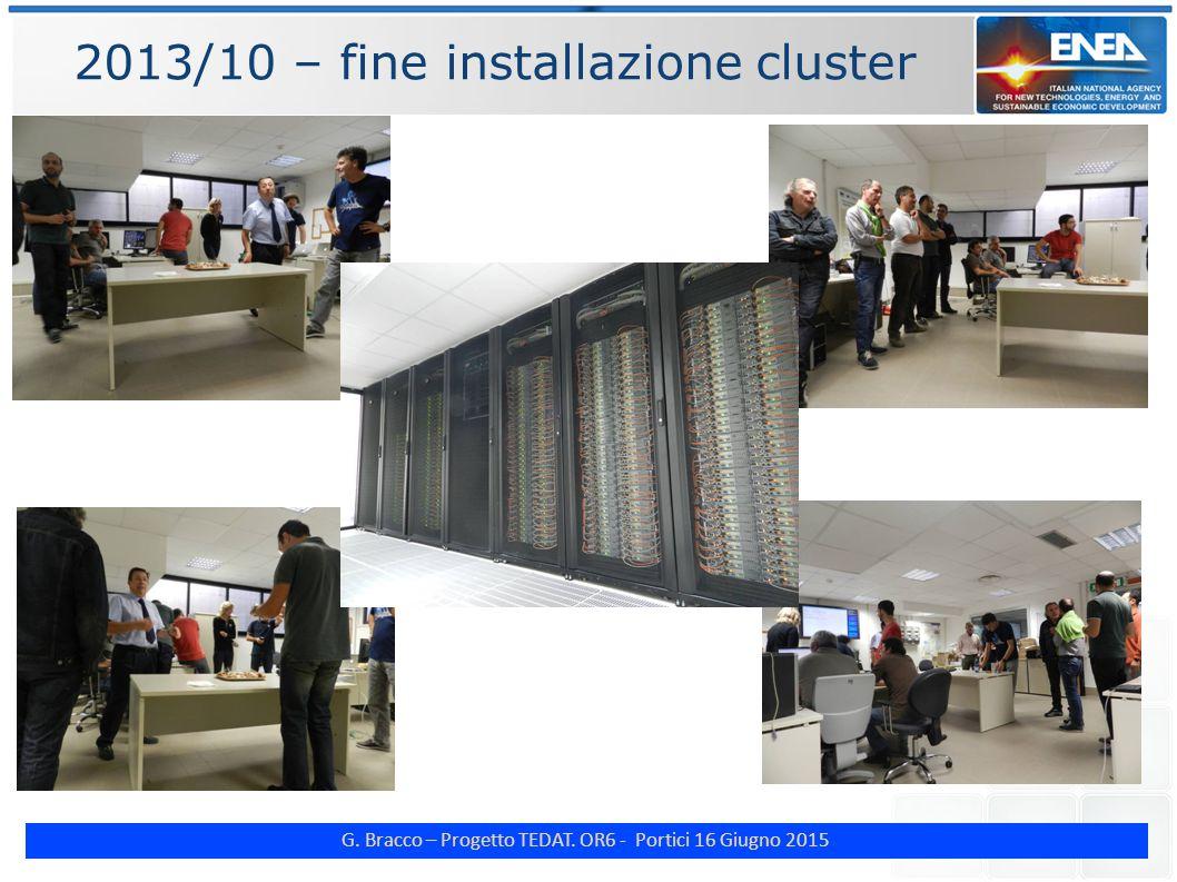 G. Bracco – Progetto TEDAT. OR6 - Portici 16 Giugno 2015 2013/10 – fine installazione cluster