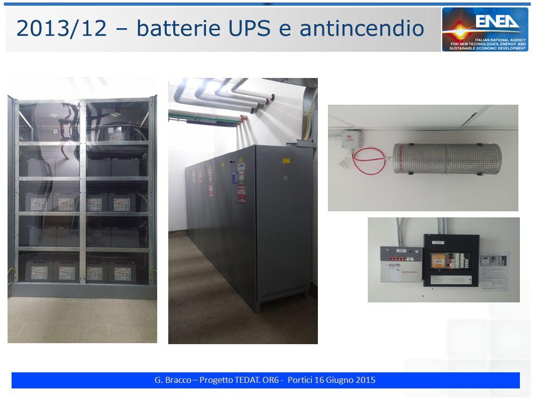G. Bracco – Progetto TEDAT. OR6 - Portici 16 Giugno 2015 2013/12 – batterie UPS e antincendio