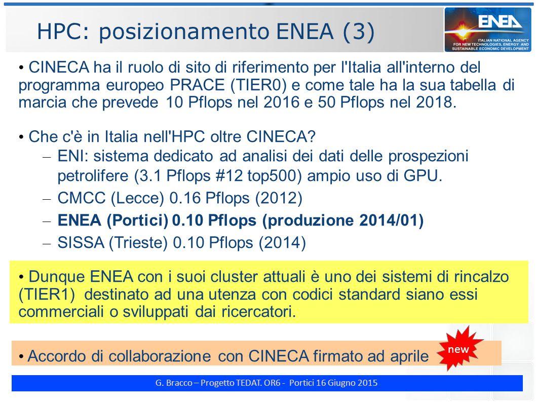 G. Bracco – Progetto TEDAT. OR6 - Portici 16 Giugno 2015 HPC: posizionamento ENEA (3) CINECA ha il ruolo di sito di riferimento per l'Italia all'inter