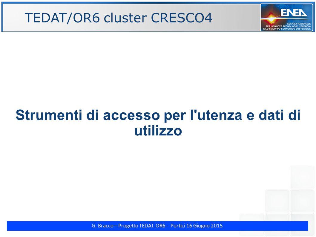 G. Bracco – Progetto TEDAT. OR6 - Portici 16 Giugno 2015 Strumenti di accesso per l'utenza e dati di utilizzo TEDAT/OR6 cluster CRESCO4