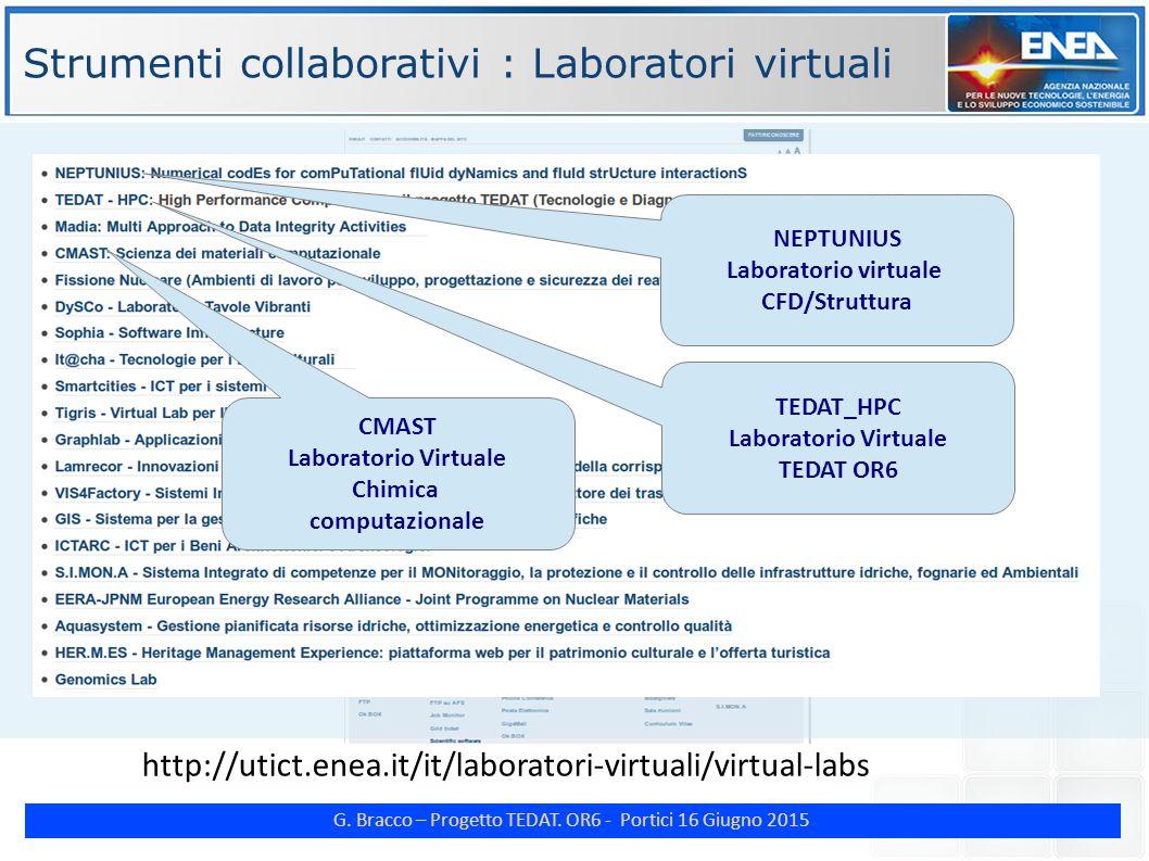 G. Bracco – Progetto TEDAT. OR6 - Portici 16 Giugno 2015 http://utict.enea.it/it/laboratori-virtuali/virtual-labs CMAST Laboratorio Virtuale Chimica c