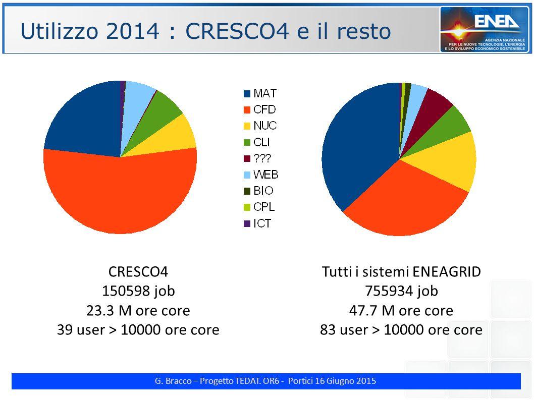G. Bracco – Progetto TEDAT. OR6 - Portici 16 Giugno 2015 Tutti i sistemi ENEAGRID 755934 job 47.7 M ore core 83 user > 10000 ore core Utilizzo 2014 :