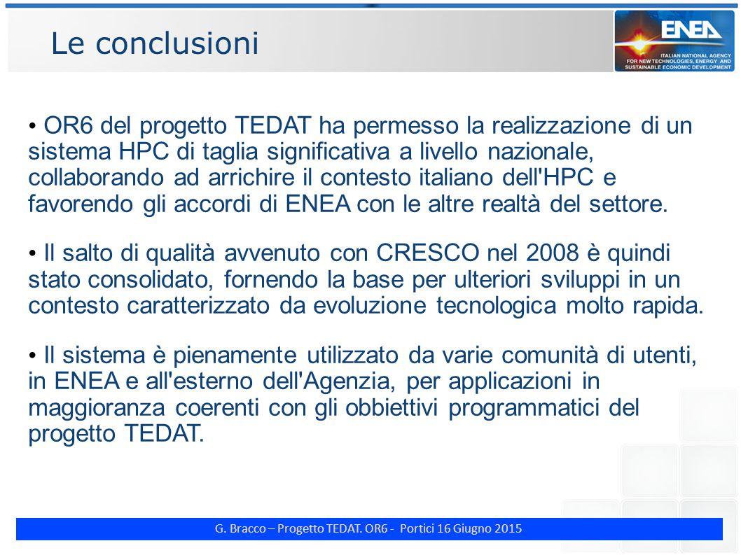 G. Bracco – Progetto TEDAT. OR6 - Portici 16 Giugno 2015 Le conclusioni OR6 del progetto TEDAT ha permesso la realizzazione di un sistema HPC di tagli