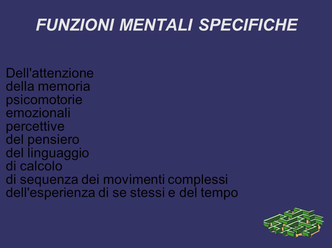 FUNZIONI MENTALI SPECIFICHE Dell attenzione della memoria psicomotorie emozionali percettive del pensiero del linguaggio di calcolo di sequenza dei movimenti complessi dell esperienza di se stessi e del tempo