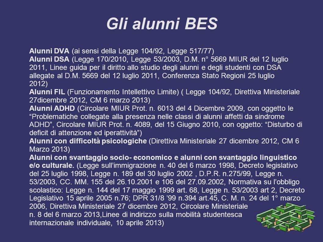 Gli alunni BES Alunni DVA (ai sensi della Legge 104/92, Legge 517/77) Alunni DSA (Legge 170/2010, Legge 53/2003, D.M. n° 5669 MIUR del 12 luglio 2011,