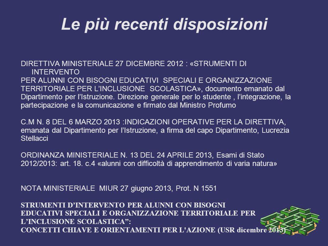 Le più recenti disposizioni DIRETTIVA MINISTERIALE 27 DICEMBRE 2012 : «STRUMENTI DI INTERVENTO PER ALUNNI CON BISOGNI EDUCATIVI SPECIALI E ORGANIZZAZI