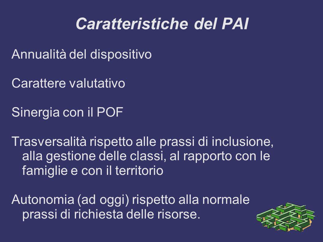 Caratteristiche del PAI Annualità del dispositivo Carattere valutativo Sinergia con il POF Trasversalità rispetto alle prassi di inclusione, alla gestione delle classi, al rapporto con le famiglie e con il territorio Autonomia (ad oggi) rispetto alla normale prassi di richiesta delle risorse.