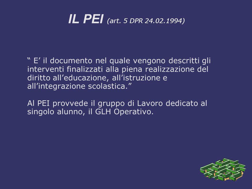 """IL PEI (art. 5 DPR 24.02.1994) """" E' il documento nel quale vengono descritti gli interventi finalizzati alla piena realizzazione del diritto all'educa"""