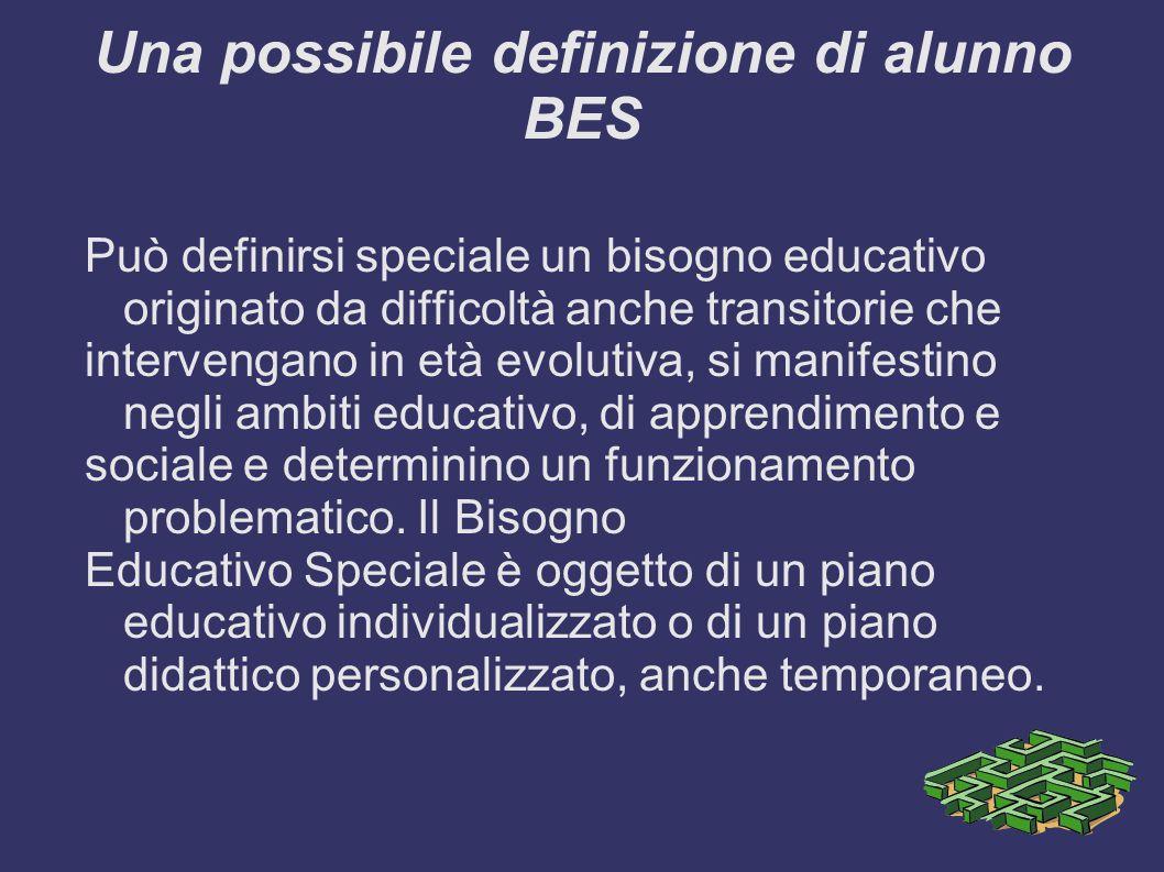 Una possibile definizione di alunno BES Può definirsi speciale un bisogno educativo originato da difficoltà anche transitorie che intervengano in età evolutiva, si manifestino negli ambiti educativo, di apprendimento e sociale e determinino un funzionamento problematico.