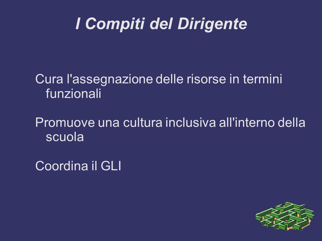 I Compiti del Dirigente Cura l assegnazione delle risorse in termini funzionali Promuove una cultura inclusiva all interno della scuola Coordina il GLI
