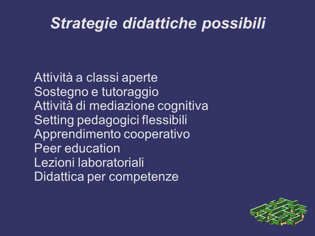 Strategie didattiche possibili Attività a classi aperte Sostegno e tutoraggio Attività di mediazione cognitiva Setting pedagogici flessibili Apprendimento cooperativo Peer education Lezioni laboratoriali Didattica per competenze