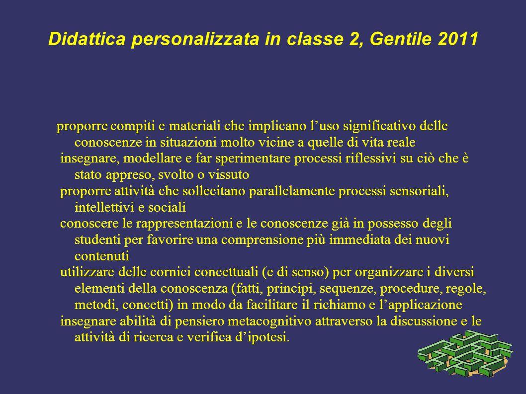 Didattica personalizzata in classe 2, Gentile 2011 proporre compiti e materiali che implicano l'uso significativo delle conoscenze in situazioni molto