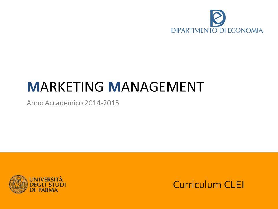 Curriculum CLEI MARKETING MANAGEMENT Anno Accademico 2014-2015