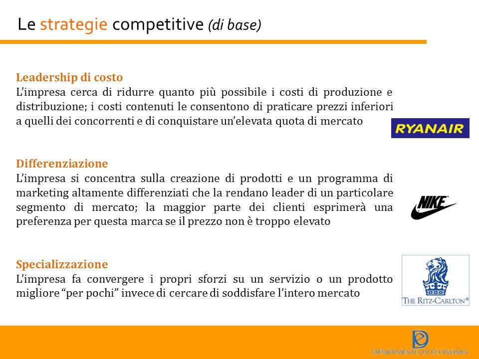 Le strategie competitive (di base) Leadership di costo L'impresa cerca di ridurre quanto più possibile i costi di produzione e distribuzione; i costi
