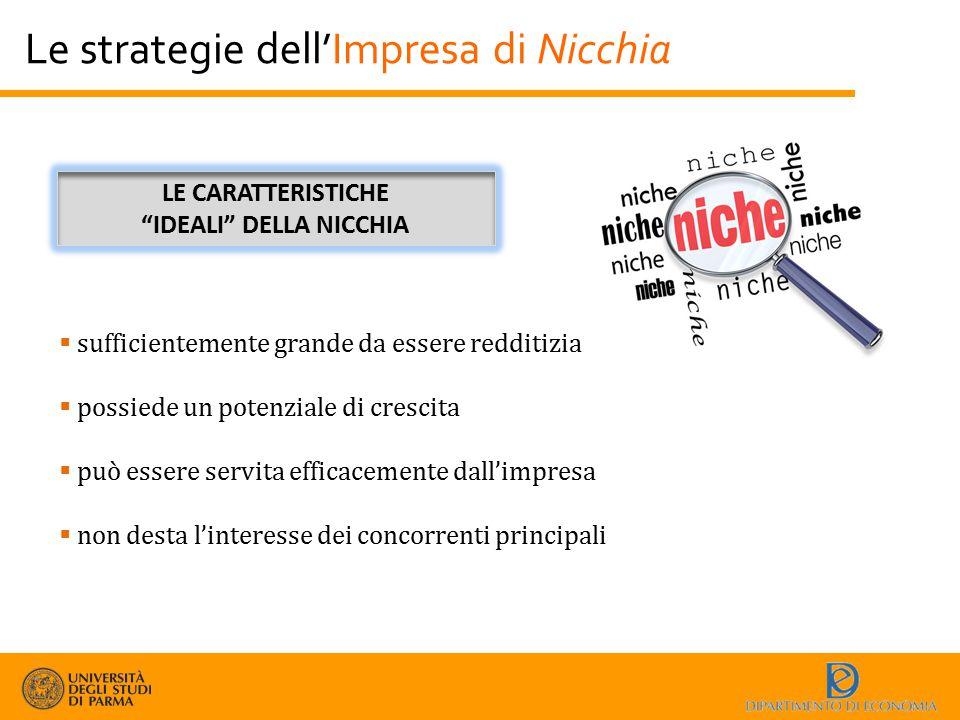 Le strategie dell'Impresa di Nicchia  sufficientemente grande da essere redditizia  possiede un potenziale di crescita  può essere servita efficace