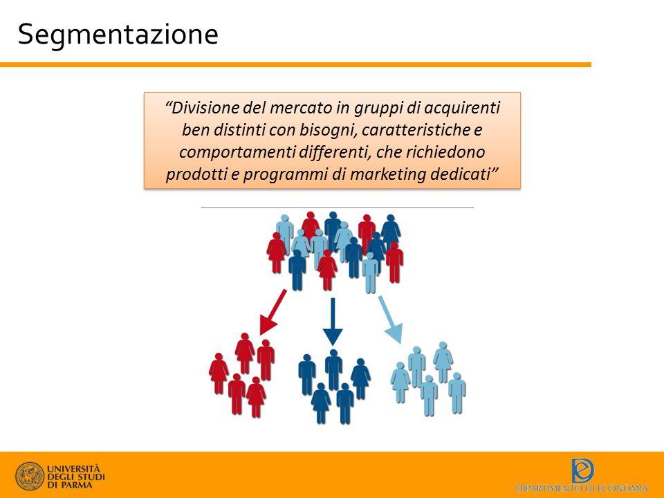 """Segmentazione """"Divisione del mercato in gruppi di acquirenti ben distinti con bisogni, caratteristiche e comportamenti differenti, che richiedono prod"""