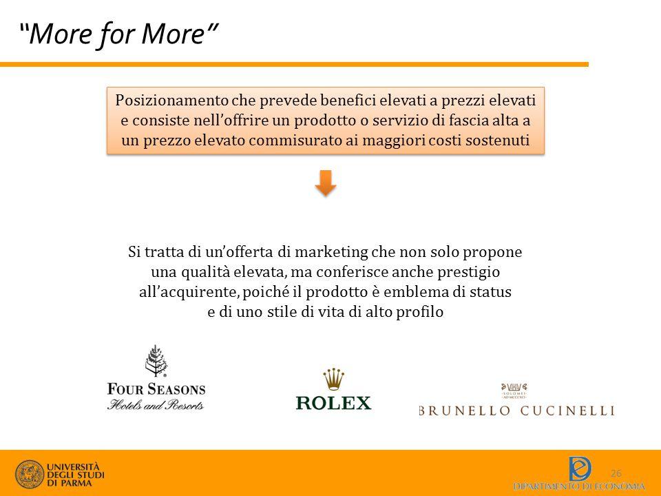 """""""More for More"""" 26 Posizionamento che prevede benefici elevati a prezzi elevati e consiste nell'offrire un prodotto o servizio di fascia alta a un pre"""