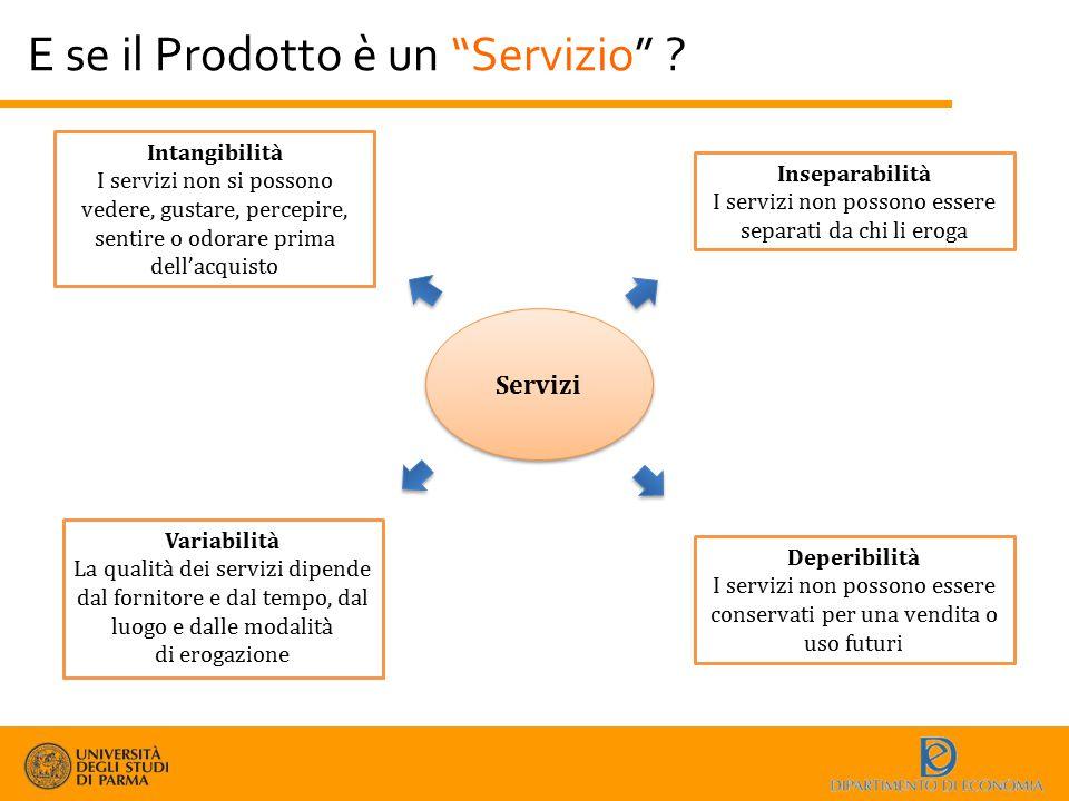 """E se il Prodotto è un """"Servizio"""" ? Servizi Intangibilità I servizi non si possono vedere, gustare, percepire, sentire o odorare prima dell'acquisto Va"""