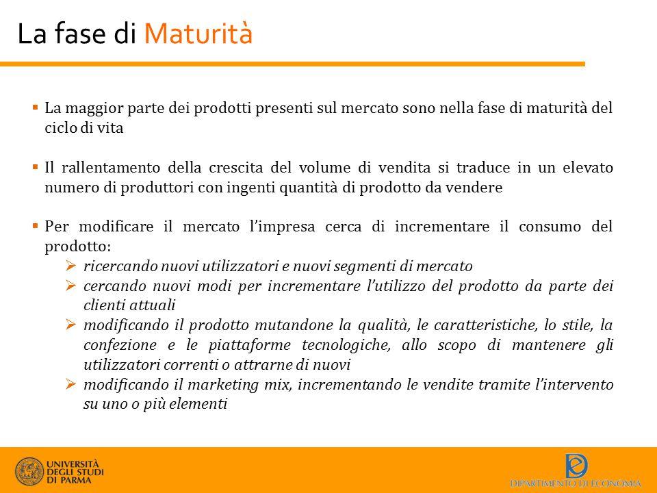 La fase di Maturità  La maggior parte dei prodotti presenti sul mercato sono nella fase di maturità del ciclo di vita  Il rallentamento della cresci