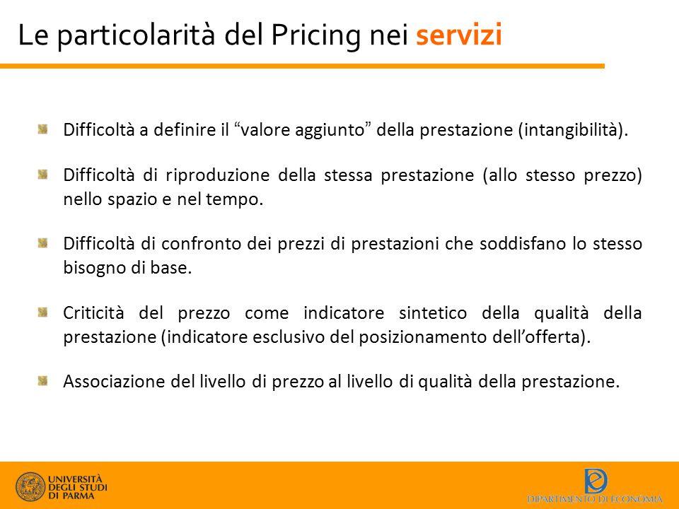 """Le particolarità del Pricing nei servizi Difficoltà a definire il """"valore aggiunto"""" della prestazione (intangibilità). Difficoltà di riproduzione dell"""