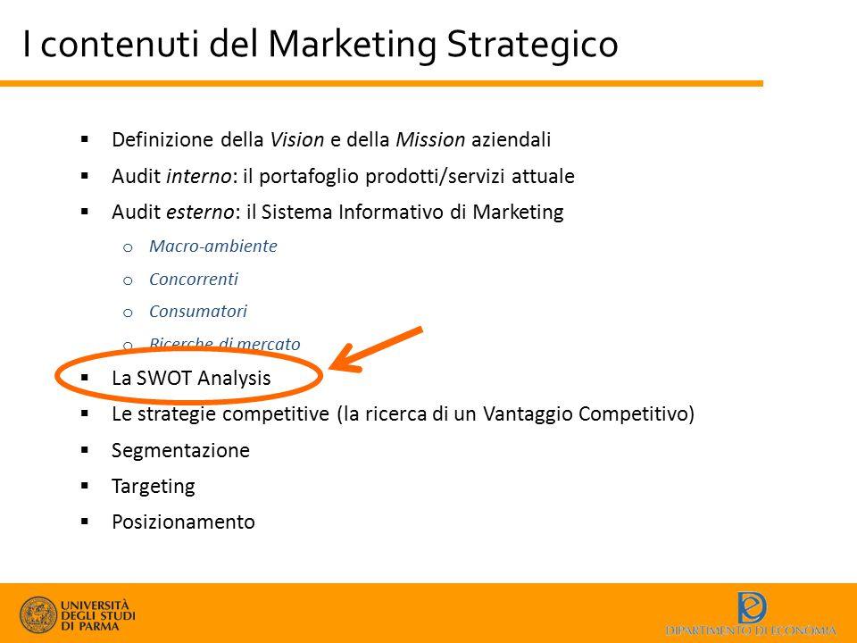 I contenuti del Marketing Strategico  Definizione della Vision e della Mission aziendali  Audit interno: il portafoglio prodotti/servizi attuale  A